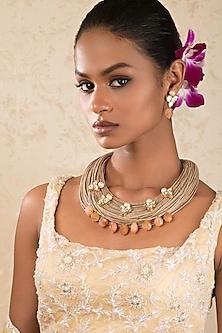 Gold Finish Carnelian Choker Necklace Set by Joules By Radhika