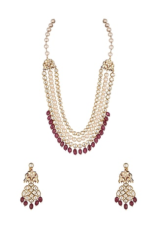 Gold Micro Plated Necklace With Pearls by Joules By Radhika