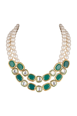 Gold Micro Plated Green Onyx Necklace by Joules By Radhika