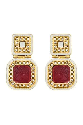 Gold Finish Kundan Earrings by Joules By Radhika
