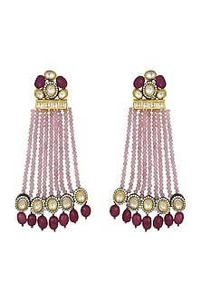 Gold Finish Onyx Drop Earrings by Joules By Radhika