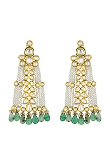 Gold Finish Fluoride & Kundan Earrings by Joules By Radhika