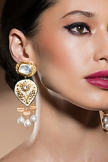 Gold Finish Baroque Pearl Earrings by Joules By Radhika