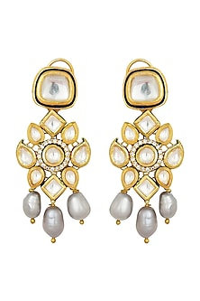 Gold Finish Pearl & Kundan Earrings by Joules By Radhika