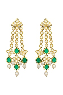 Gold Finish Polki & Kundan Earrings by Joules By Radhika