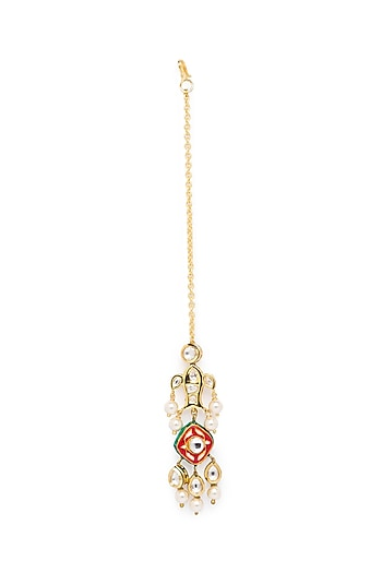 Gold Finish Shell Pearl Maang Tikka by Joules By Radhika