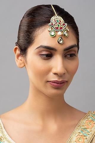 Gold Finish Kundan Meenakari Maang Tikka by Joules By Radhika