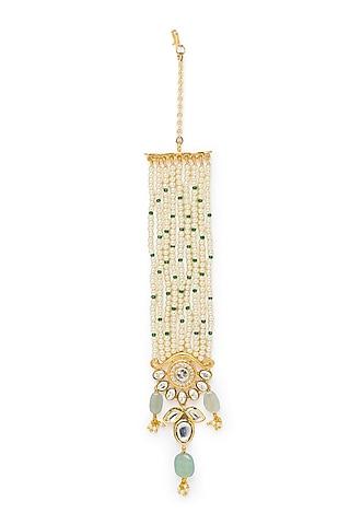 Gold Finish Jade & Pearl Maang Tikka by Joules By Radhika