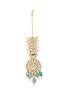Gold Finish Maang Tikka With Jade Drops by Joules By Radhika