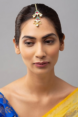 Gold Finish Meenakari Pearl Maang Tikka by Joules By Radhika