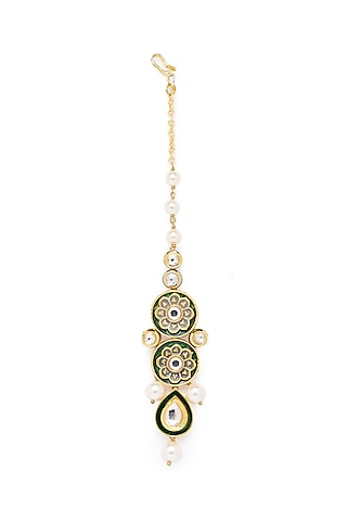 Gold Finish Shell Pearl & Kundan Maang Tikka by Joules By Radhika