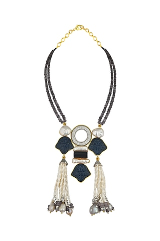 Gold Finish Swarovski Baroque Pearls Necklace by Joules By Radhika