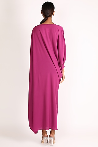 Pink Off Shoulder Cowl Draped Dress by July