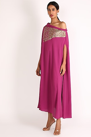 Pink Hand Embroidered Off Shoulder Dress by July