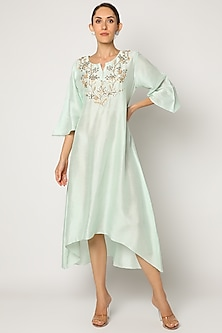 Sea Green Embroidered Asymmetrical Tunic by July-READY TO SHIP GIFTS