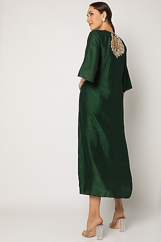 Bottle Green Embroidered Long Kurta by July