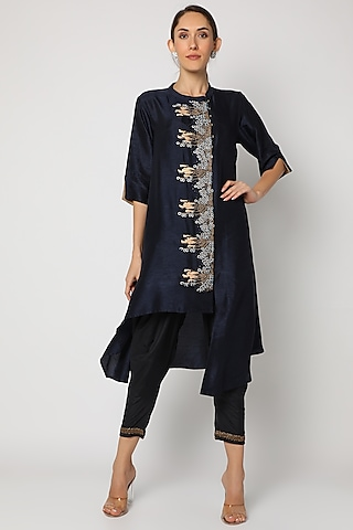 Blue Embroidered Asymmetrical Kurta by July