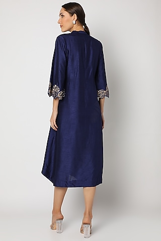 Blue Embroidered Kurta by July