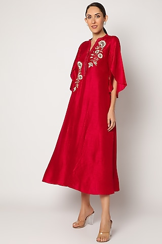 Red Embroidered Asymmetrical Kurta by July