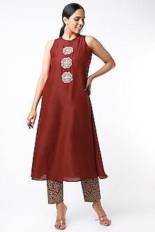 Red Embroidered Kurta Set by July-POPULAR PRODUCTS AT STORE