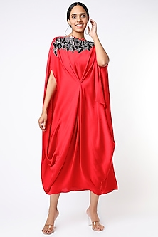 Red Embroidered Draped Dress by July-POPULAR PRODUCTS AT STORE