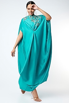 Turquoise Embroidered Draped Dress by July-POPULAR PRODUCTS AT STORE