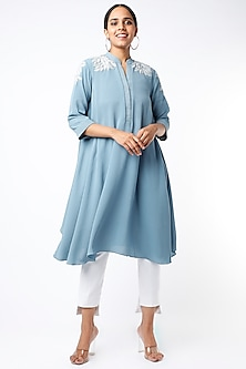 Powder Blue Embroidered Flared Kurta by July-POPULAR PRODUCTS AT STORE