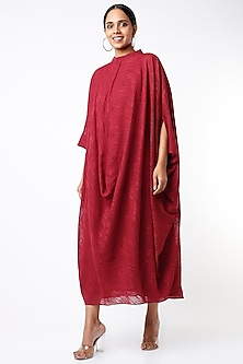 Red Oversized Cowl Dress by July-POPULAR PRODUCTS AT STORE
