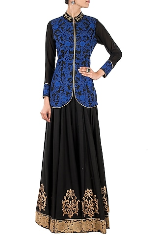 Black jacket with blue embroidery by J by Jannat