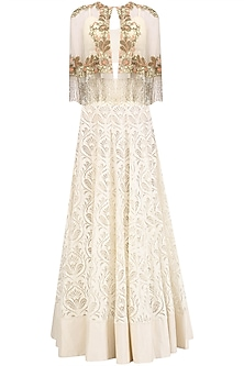 Ivory Floral Embroidered Cape and Skirt Set by J by Jannat