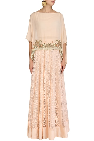 Peach Floral Embroidered Cape and Lehenga Skirt Set by J by Jannat