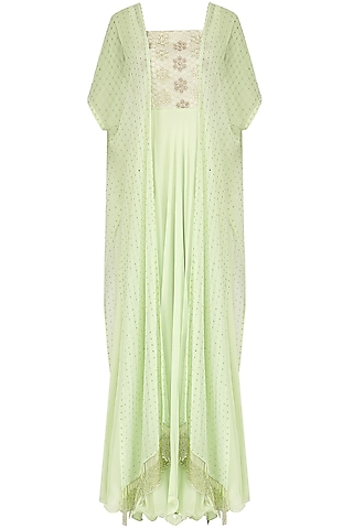 Mint Green Embroidered Anarkali and Cape Set by J by Jannat