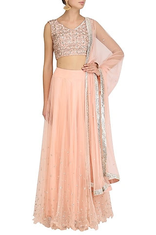 Pink Embroidered Blouse and Lehenga Skirt Set by J by Jannat