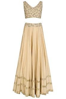 Gold Tasseled Blouse, Lehenga Skirt and Cape Set by J by Jannat