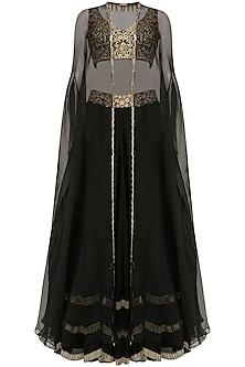 Black Tasseled Blouse, Lehenga Skirt and Cape Set by J by Jannat