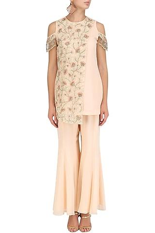 Peach Floral Embroidered Kurta and Sharara Pants Set by J by Jannat