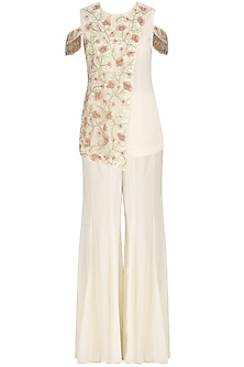 Ivory Floral Embroidered Kurta and Sharara Pants Set by J by Jannat