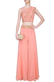 Peach Mirror Work Blouse with Attached Dupatta and Divided Skirt by J by Jannat