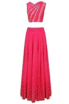 Reddish Pink Mirror Work Blouse with Attached Dupatta and Skirt by J by Jannat