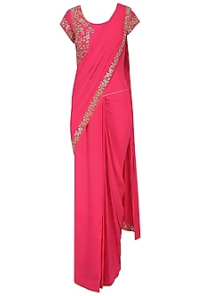 Reddish Pink Mirror Work Saree with Matching Blouse by J by Jannat