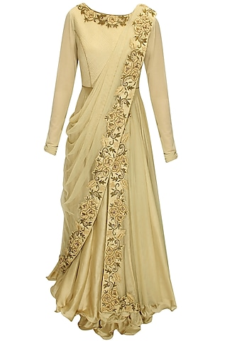 Beige dabka and thread embroidered draped anarkali set by J by Jannat