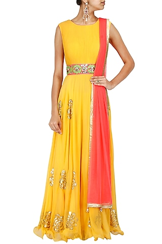 Yellow and pink embroidered anarkali set by J by Jannat