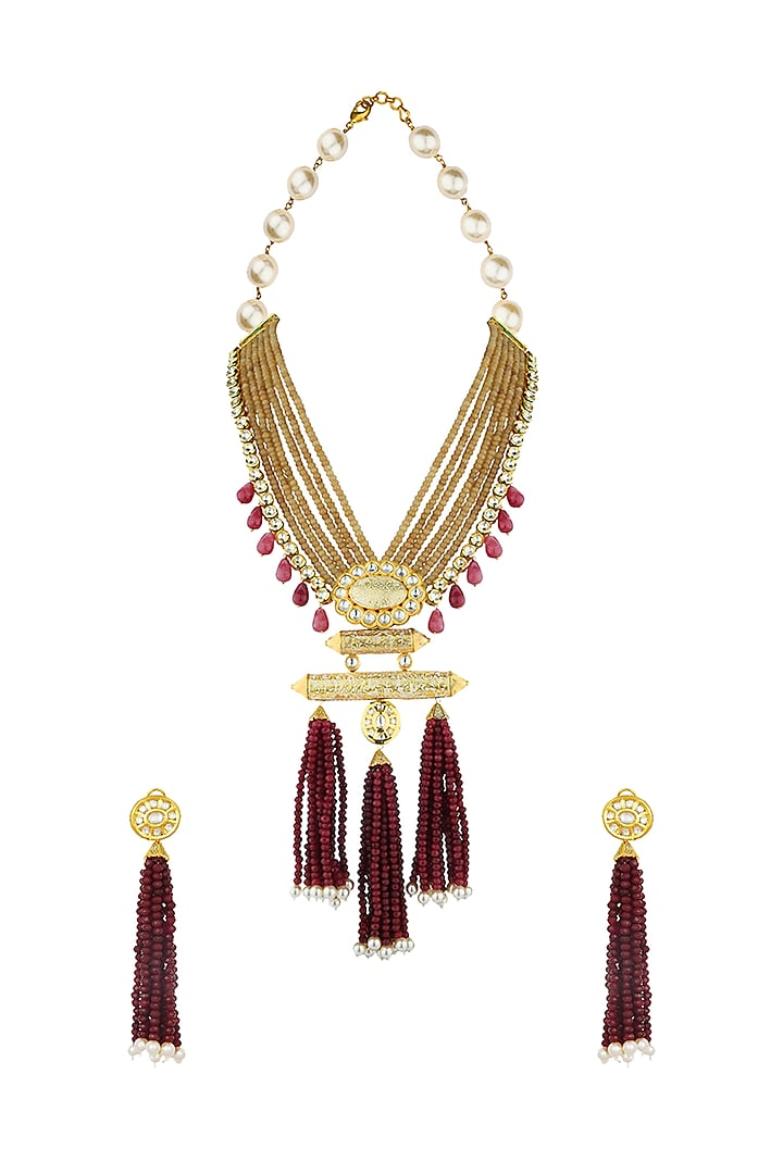 Gold Finish Agate Beads & Shell Pearls Necklace Set by Joules By Radhika