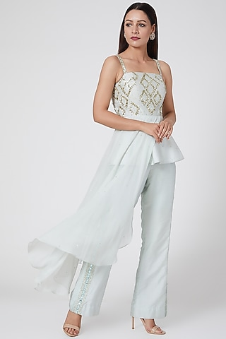 Sea Green Embroidered Pants Set by Jade by Ashima