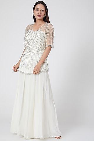 White Embroidered Sharara Set by Jade by Ashima