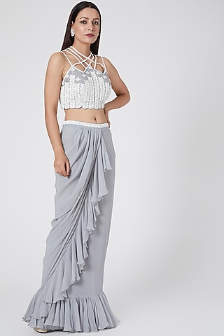 Grey Embroidered Skirt Set by Jade by Ashima