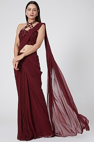 Wine Embroidered Saree Set by Jade by Ashima