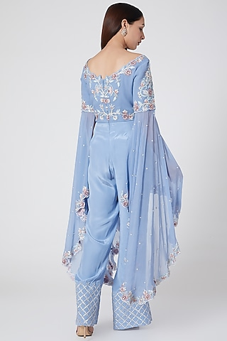 Blue Embroidered Jumpsuit by Jade by Ashima
