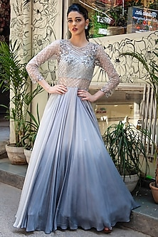 Grey Embroidered Ombre Gown by Jade by Ashima