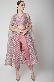 Dark Onion Pink Embellished Cape Set by Jade by Ashima
